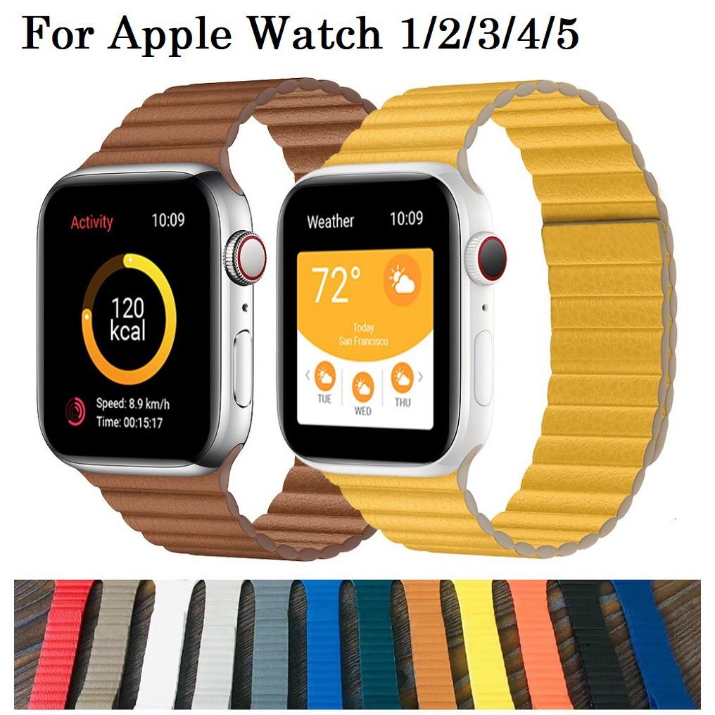 สาย applewatch ายนาฬิกา applewatch Apple Watch สายนาฬิกา Iwatch Series 1/2/3/4/5/6, Apple Watch SE สาย Leather Magnetic