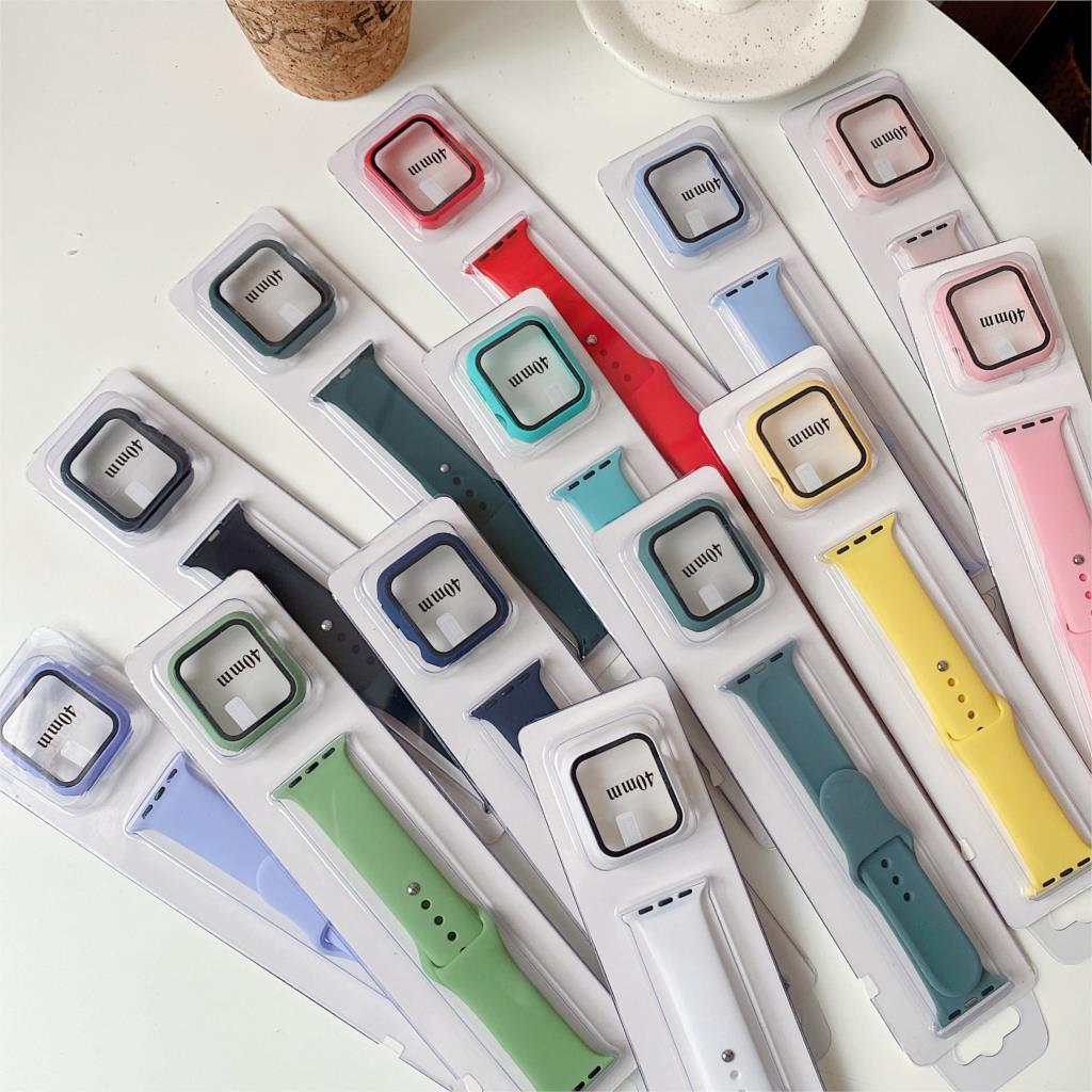 สาย applewatch สายนาฬิกา applewatch สายนาฬิกาข้อมือ พร้อมเคส แบบซิลิโคน สําหรับ Apple Watch Series 6 5 4 3 2 ขนาด 42 มม.