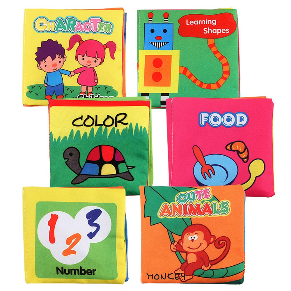 6Pcs Children Cloth Books Palm Cloth Books Animals Numbers Shapes Recognition Early Education Books For Infants Tear Resistance
