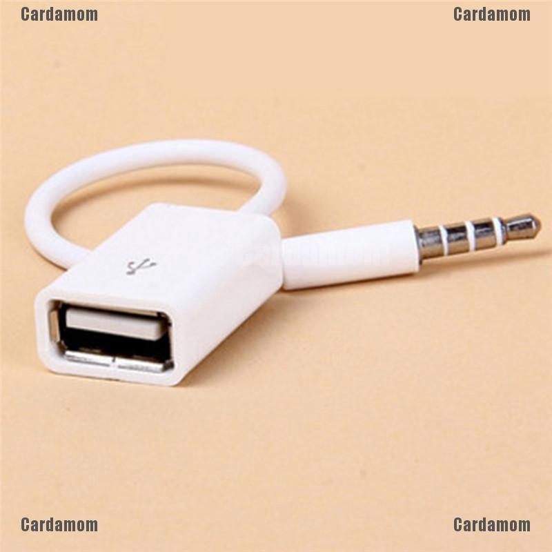 USB 2.0 Female 3.5mm Male AUX Audio Plug Jack Converter Cable Cord FOr Car MP3
