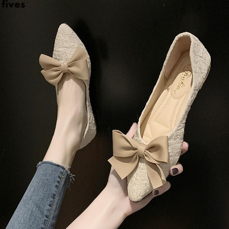 รองเท้าคัชชูหัวแหลมรองเท้าส้นแบนโบว์ตื้นย้อนยุคสำหรับผู้หญิงทุกคู่