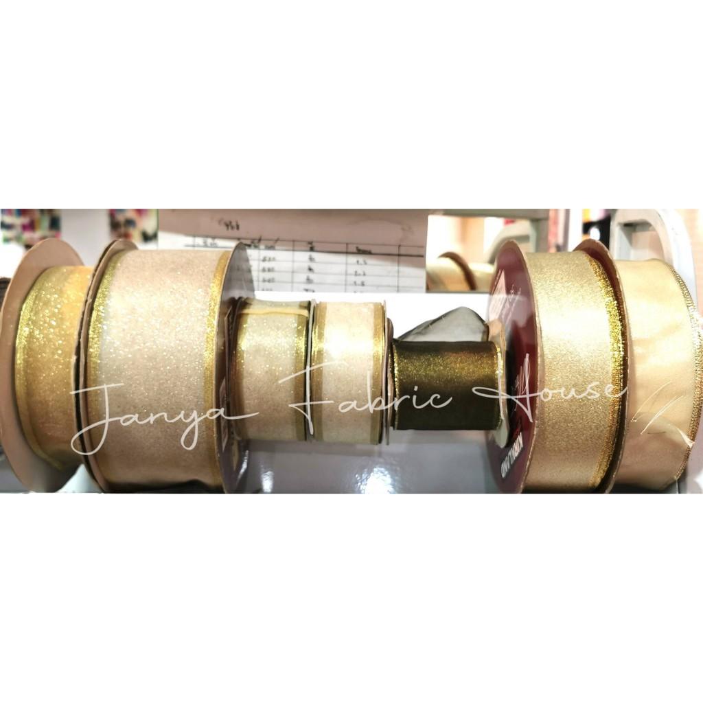 ริบบิ้นทอง ขนาด 3.6-6.2 cm. มี 6ตัวเลือก /ราคา90บาทต่อเมตร
