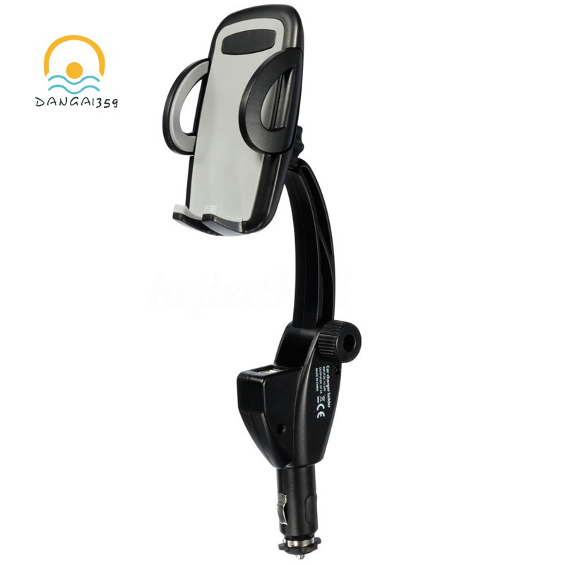 Universal Car Cigarette Lighter Cell Phone Mount Holder Cradle &Dual USB Charger