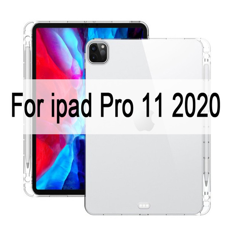 iPad Pro 11 12.9 2020 Case MiNi 2 3 4 5 Crystal Transparent Silicone TPU Case with Pencil Holder แบบกันกระแทก for Apple Tablet Cover