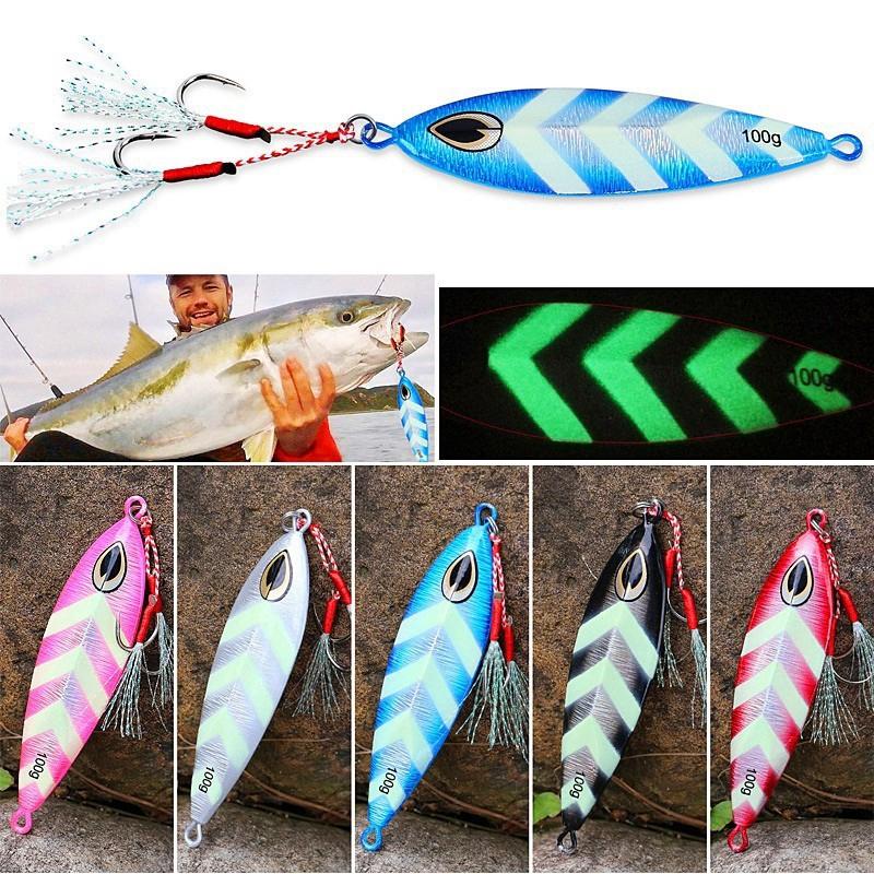 Sougayilang 100g เหยื่อตกปลา Jig Spoon Fishing Jig Lures baits With Hooks เหยื่อตกปลา Fishing ยาก