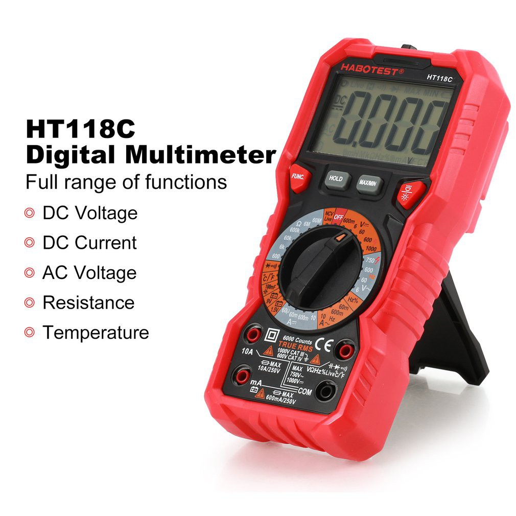 ht 118 c ดิจิตอลมัลติมิเตอร์ backlight ac dc แอมมิเตอร์โวลต์มิเตอร์