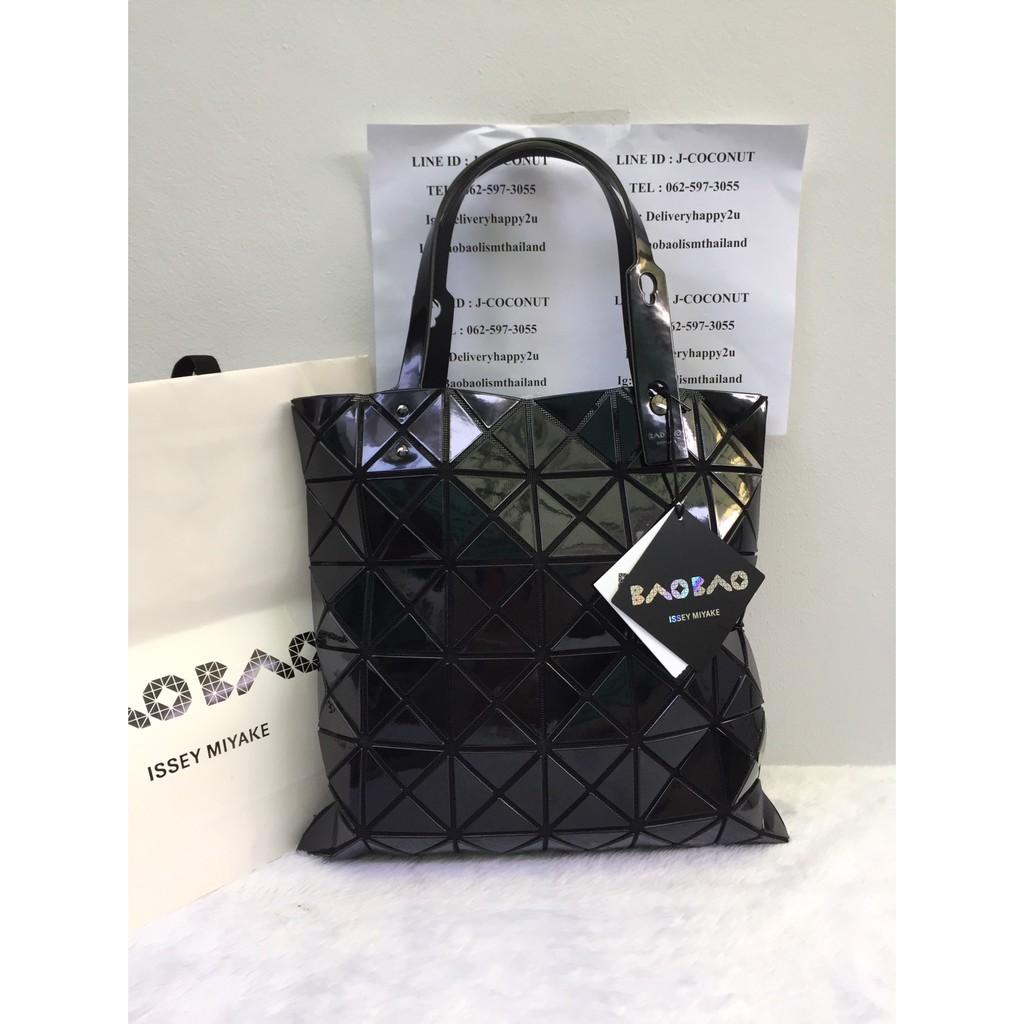 กระเป๋า bao bao baobao Issey Miyake lucent basic 6x6 6 x 6 สีดำ เนื้อเงา มือสอง มือ 2 ของแท้ แท้ used
