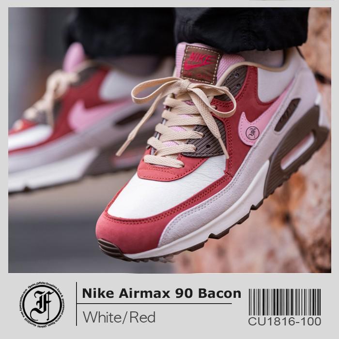 ☁fipesuเกาหลีใต้ซื้อไนกี้nike airmax90เบคอนชายและหญิงเบาะอากาศรองเท้าวิ่งสบายๆผงสีแดงสีขาว b8nW