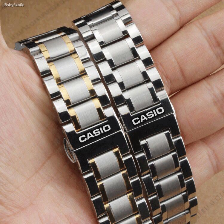 ลดราคา▬๑◙สายนาฬิกา Casio BEM-501 506 507 517 5023 สายผู้ชายและผู้หญิง สายเหล็ก สร้อยข้อมือสแตนเลส 20