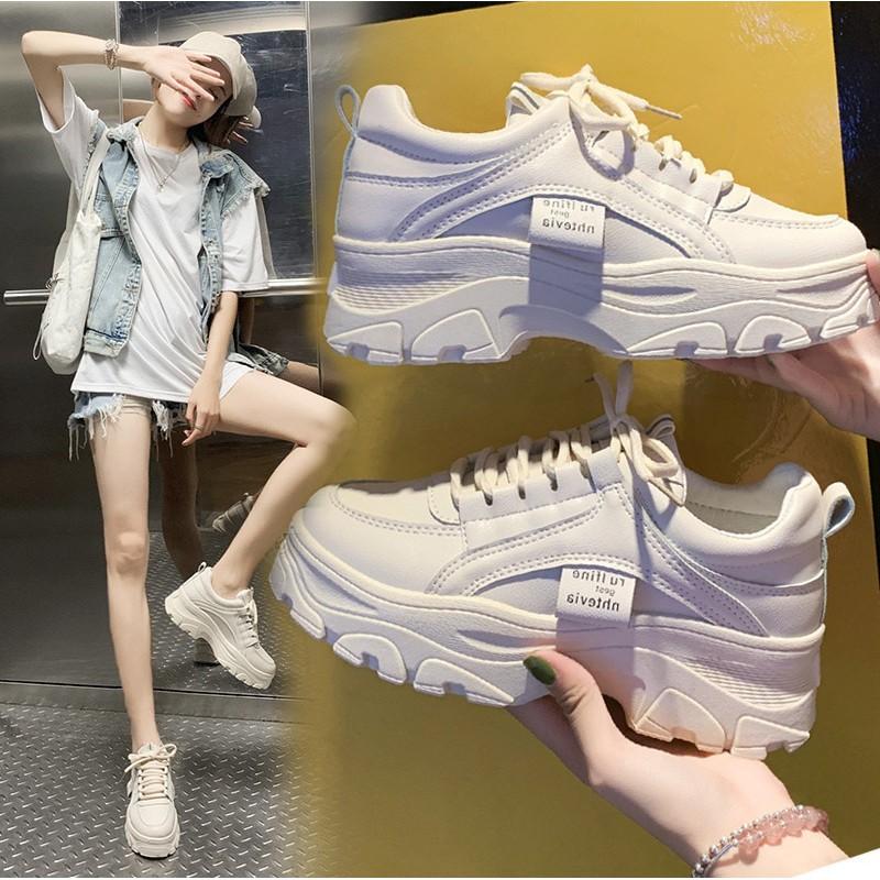 ?sale?marian รองเท้าผ้าใบ รองเท้าแฟชั่น รองเท้าผ้าใบผู้หญิง เสริมส้น 5 ซม. A0193 สีขาว พร้อมส่ง.