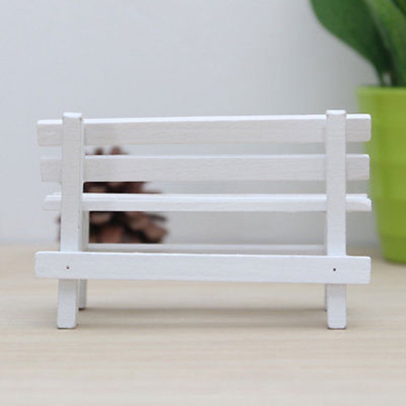 Metal Wooden Bench Chair Dollhouse Miniature 1:12 Scale Fairy Doll Home Scene ☆