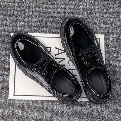 รองเท้าคัชชูผู้ชาย ♚รองเท้าหนังชายเวอร์ชั่นเกาหลีของเทรนด์รองเท้าผู้ชายชุดสูทอังกฤษเพิ่มขึ้นสีดำหนุ่มธุรกิจรอบผู้ชายรองเ