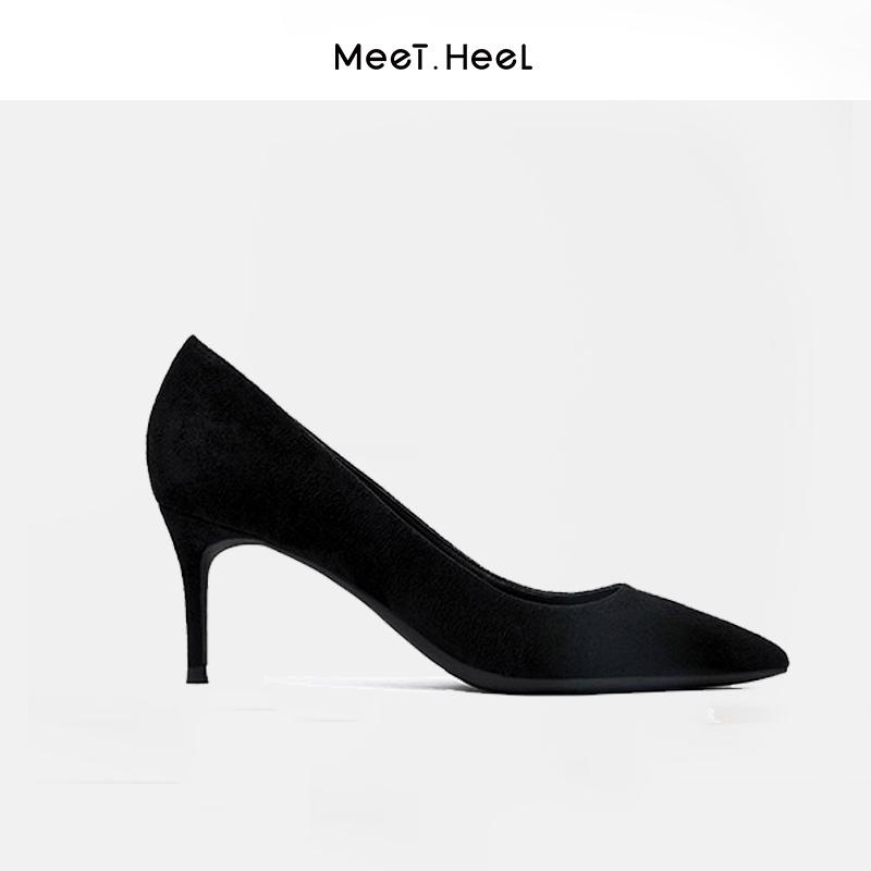 รองเท้าคัชชูหัวแหลม 面见2020ฤดูใบไม้ร่วงใหม่ป่าชี้รองเท้าเดียวผู้หญิงหนังนิ่มสีดำอาชีพกริชรองเท้าส้นสูงผู้หญิงcod uDQq