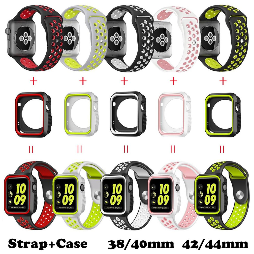 (S/M) Apple Watch Strap + Case 38/40mm 42/44mm Soft Silicone Sport Band with Cover for iWatch Series SE 6/5/4/3/2/1 YLxC