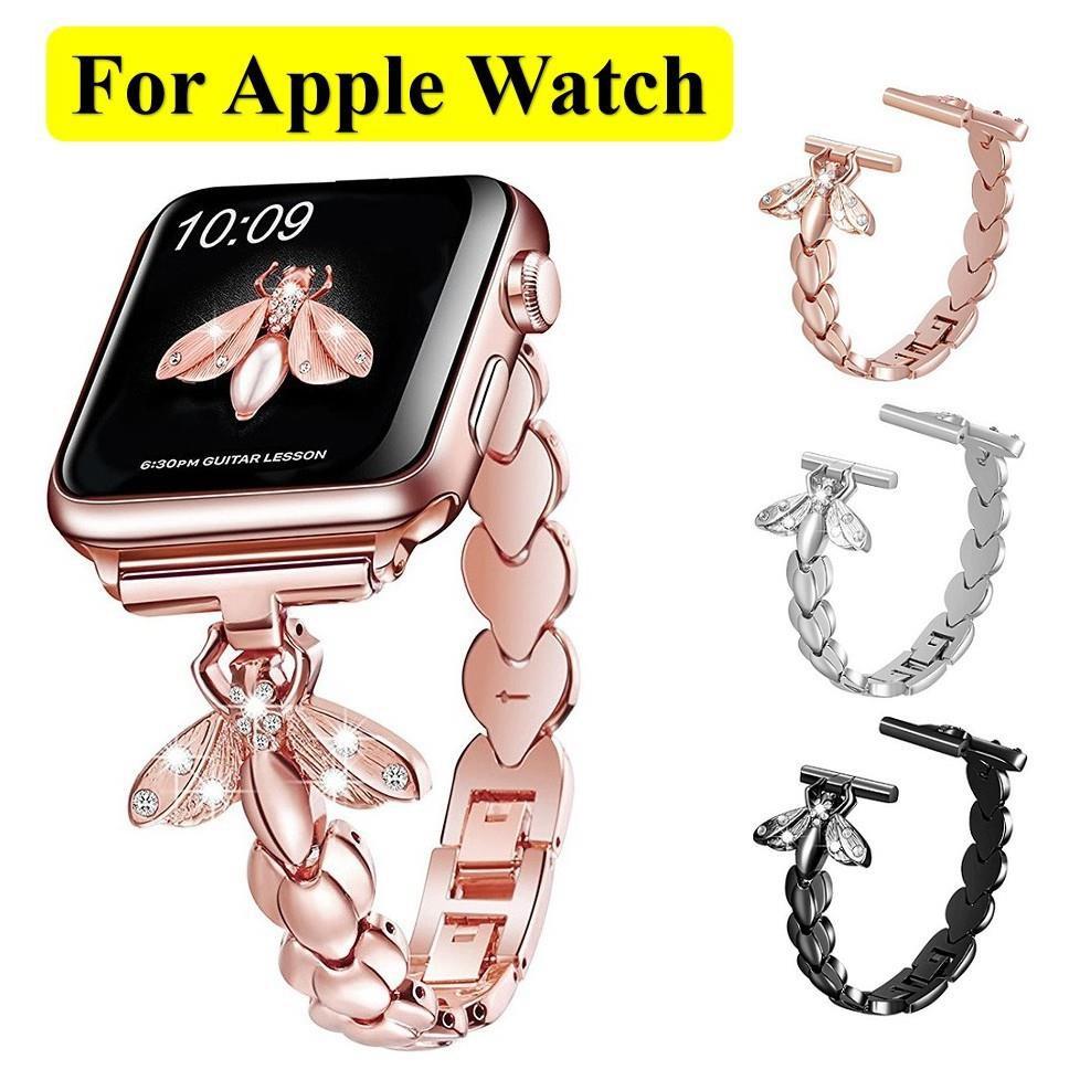 Luxury สายนาฬิกา Apple Watch Straps Honeybee Diamonds Bling เหล็กกล้าไร้สนิม สาย Applewatch Series 6 5 4 3 2 1, SE Stai