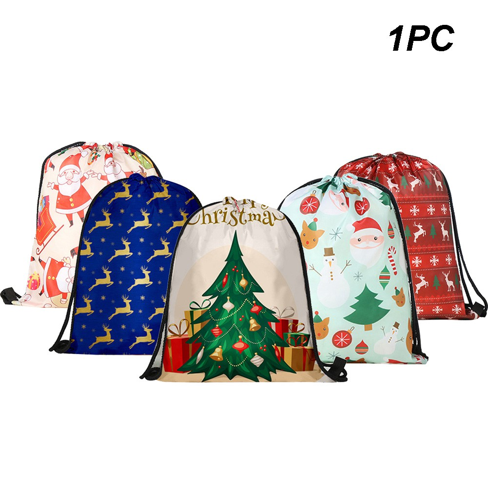 de7612dcbfd0 Santa Claus Snowman Christmas Tree Gift Bag Candy Present Wrap Drawstring  Sack