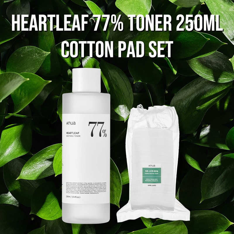 [ANUA] Heartleaf 77% Soothing Toner 250ml / Cotton Pad for Toner Set