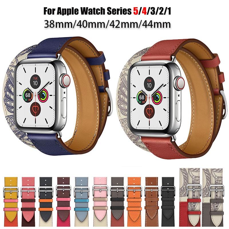 สายนาฬิกาข้อมือหนังแท้สําหรับ Apple Watch Band Series 5 4 3 2 1 Iwatch