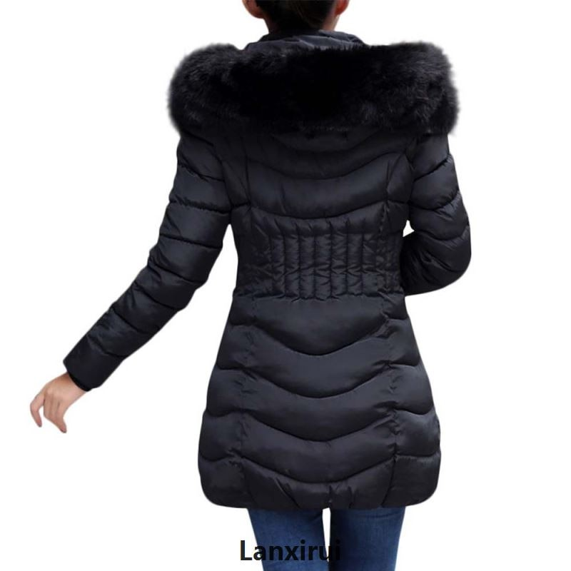 □○Parka Coat Solid Fur Casual Zipper Coat High Quality Hooded Winter Women's Cotton Long Padded Slim Coat Jackets for Wo