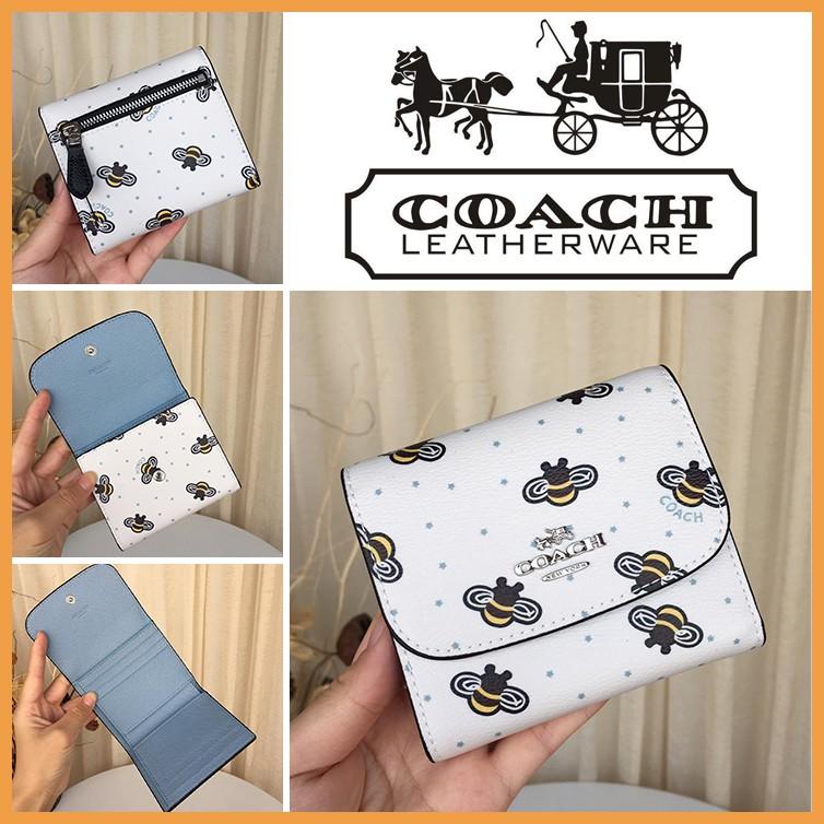 COACH 25972 กระเป๋าสตางค์ผู้หญิง หนังแท้กระเป๋าสตางค์ กระเป๋าเงินบัตร กระเป๋าสตางค์ใบสั้น พับเก็บได้ coach กระเป๋าสตางค์