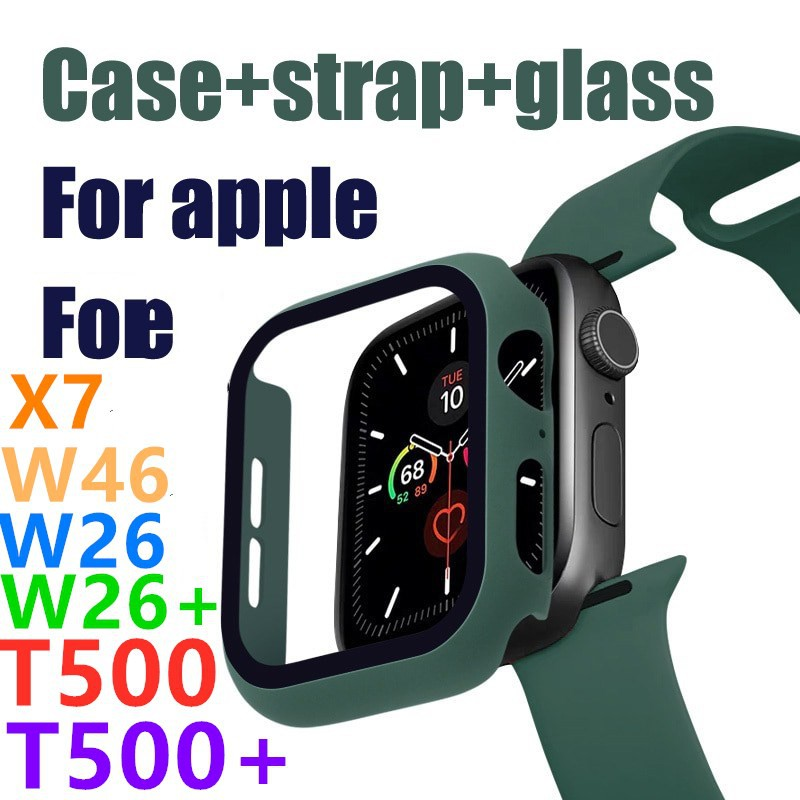 Case+strap+glass for Apple Watch band 44 mm iWatch band 38mm 42mm 40mm silicone bumper bracelet series 5 4 3 2 apple wat