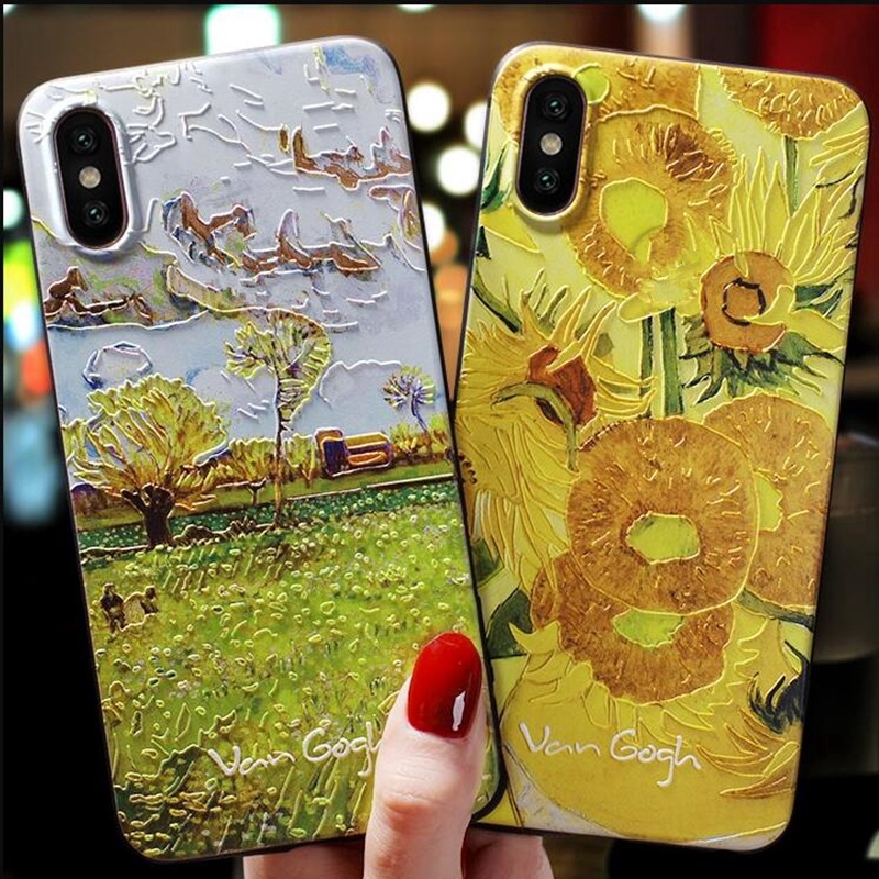 Samsung Galaxy A9 2018 2016 A8 Star Pro Lite A9S A8S A6S 3D Relief Silicone Soft Case Van Gogh Embossed Painted Casing Cover