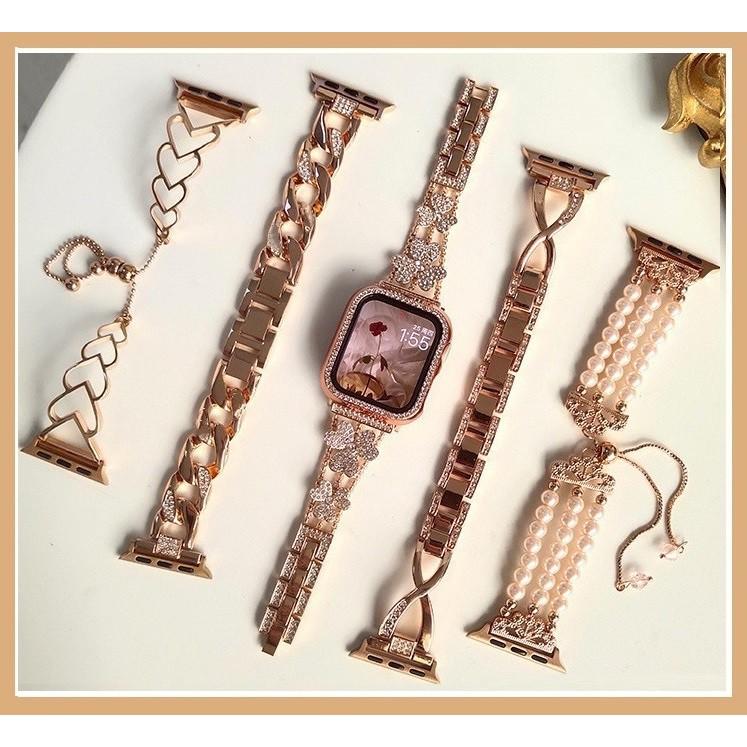หลากหลายมาก สายนาฬิกา Apple Watch ชนิดสายหนัง สเตนเลส ขนาด สาย Applewatch กุหลาบทอง แฟลช iwatch Apple Watch  Apple Watch series 6 5 4 3 2 1 Apple Watch SE Strap
