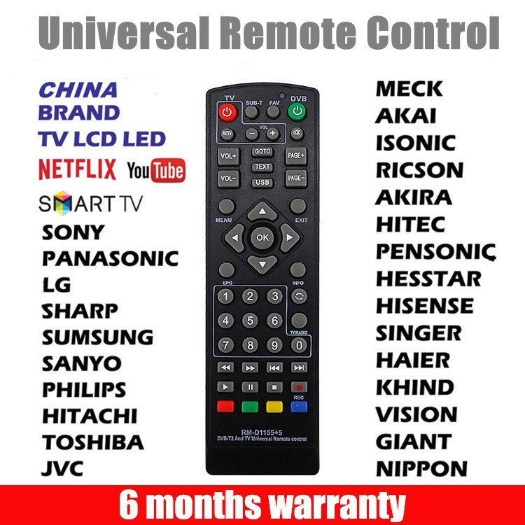 การควบคุมระยะไกล DVB T2 Remote Control TV Remote Control Universal