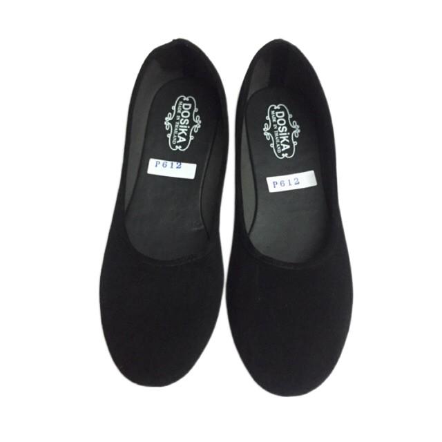 ✾36-44 รองเท้าคัชชูส้นเตี้ย กำมะหยี่สีดำ ใส่เรียนใส่ทำงาน พื้นเรียบ ดำขน รองเท้านักศึกษา⚠️