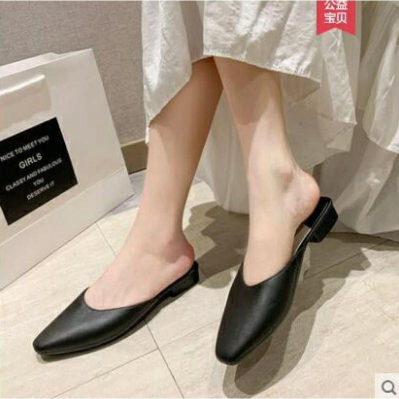 รองเท้าสลิปออนผู้หญิง﹍ รองเท้าคัชชู รองเท้าคัชชูหัวแหลมเปิดส้น รองเท้าผู้หญิงแฟชั่น (Cutsu02)