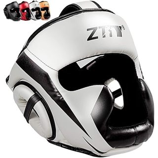 ZTTY Full-Covered Boxing Helmet Muay Thai PU Leather Training Sparring Boxing Headgear Gym Equipment Taekwondo Head Guar
