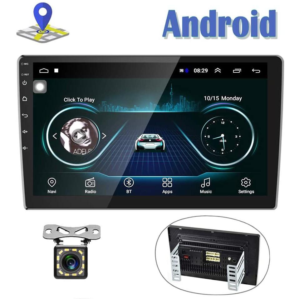 Android Double Din Gps วิทยุสเตอริโอ 10 . 1 นิ้ว Hd 1080 P 2 . 5 D กระจกมองหลังรถยนต์และกล้อง