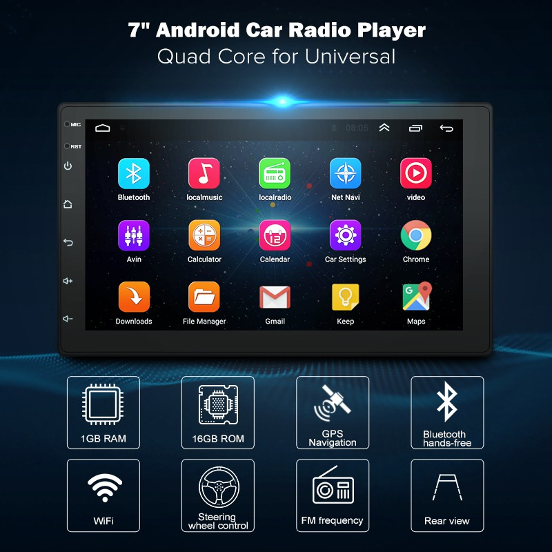 7 Inch Android 8 1 2 Din DVD Radio Multimedia Player GPS Navigation univer  TH