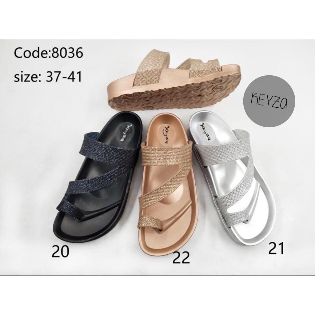 BikenStock รองเท้าแตะคีบโป้ง เนื้อยางนุ่ม สายกลิตเตอร์ Glitter KZ [803รองเท้าแตะผู้ชาย  รองเท้าแตะผู้หญิง