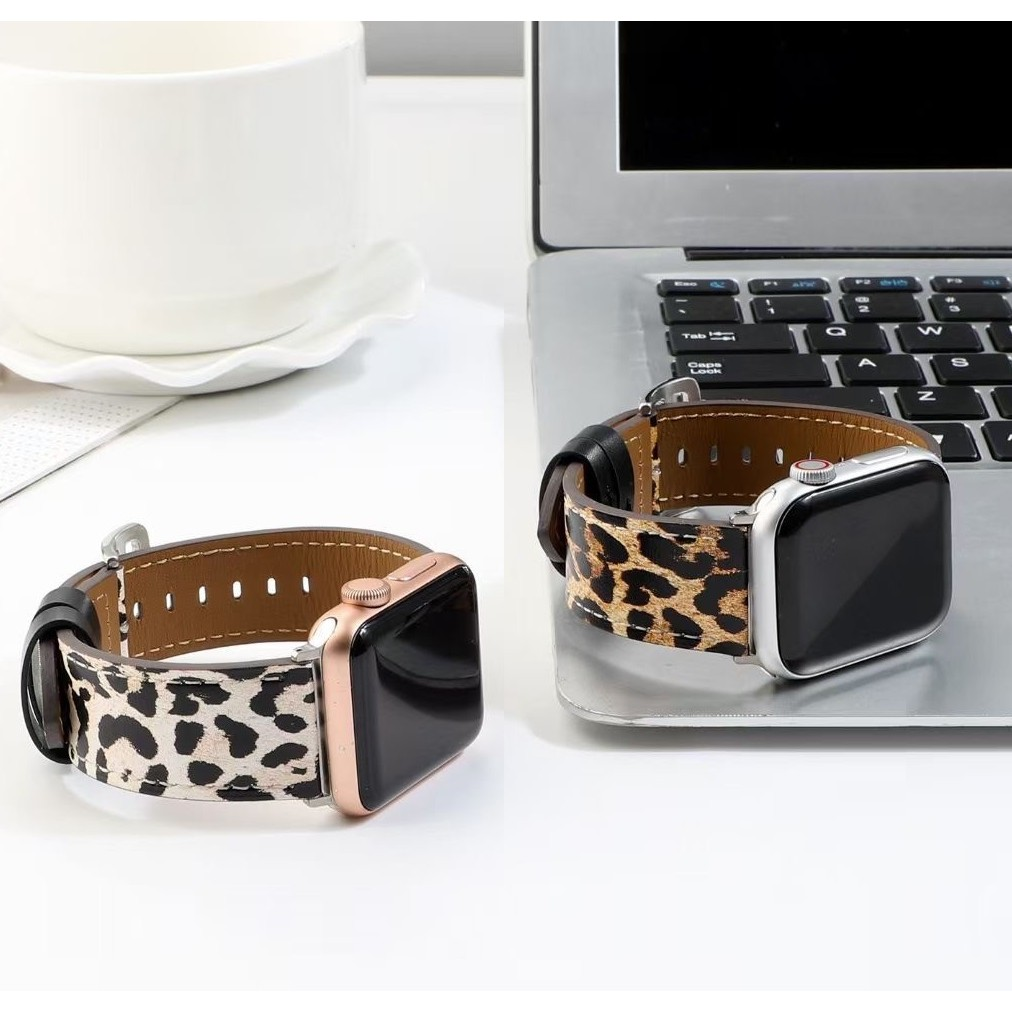 bmSE สาย applewatch Leather Material สายนาฬิกา applewatch series 6 5 4 3 2 1 SE with leopard printing strap