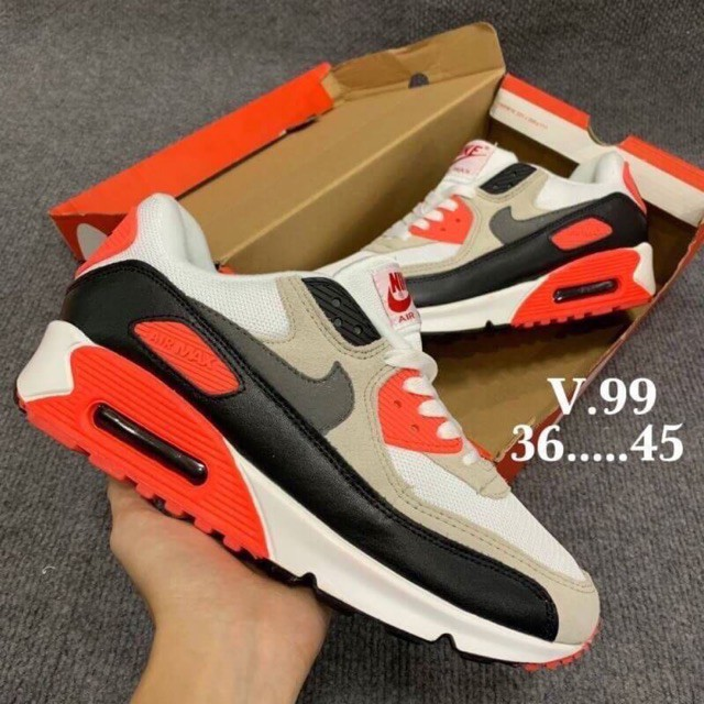 ไนกี้ รองเท้าผ้าใบแบบผูกเชือก Nike Airmax90 ของแท้ 100% ไม่ผ่านQC