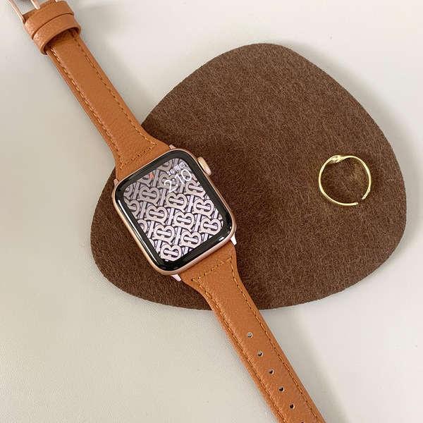 สาย applewatch Gusili 丨ใช้ได้กับ Apple iwatch1-6 สายหนังสีน้ำตาลเฮเซลนัทเป็น applewatch แบบบางและเอว