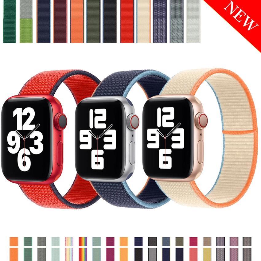 สายนาฬิกาข้อมือไนล่อนสําหรับ Apple Watch 6 Band Iwatch Series 6 Se 5 4 3 2 1 44mm 40 mm 38 mm 42 mm