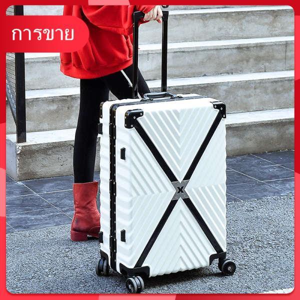 รถเข็นกระเป๋าล้อสากล 20 กรอบอลูมิเนียม 24 นิ้วนักเรียน 26 กระเป๋าเดินทางหนังย้อนยุค 28 รหัสผ่านกระเป๋าเดินทางสำหรับผู้ชา