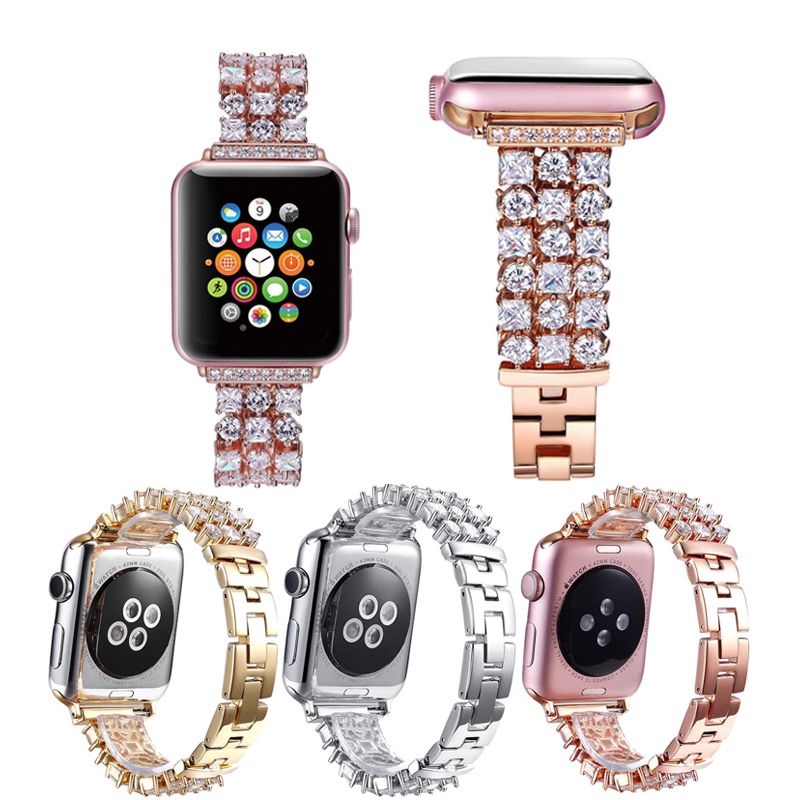 Luxury Diamond strap For Apple Watch 40 44 42 38 mm Band iWatch Series 6 5 4 3 2 SE Women Stainless Steel Bracelet Wristband