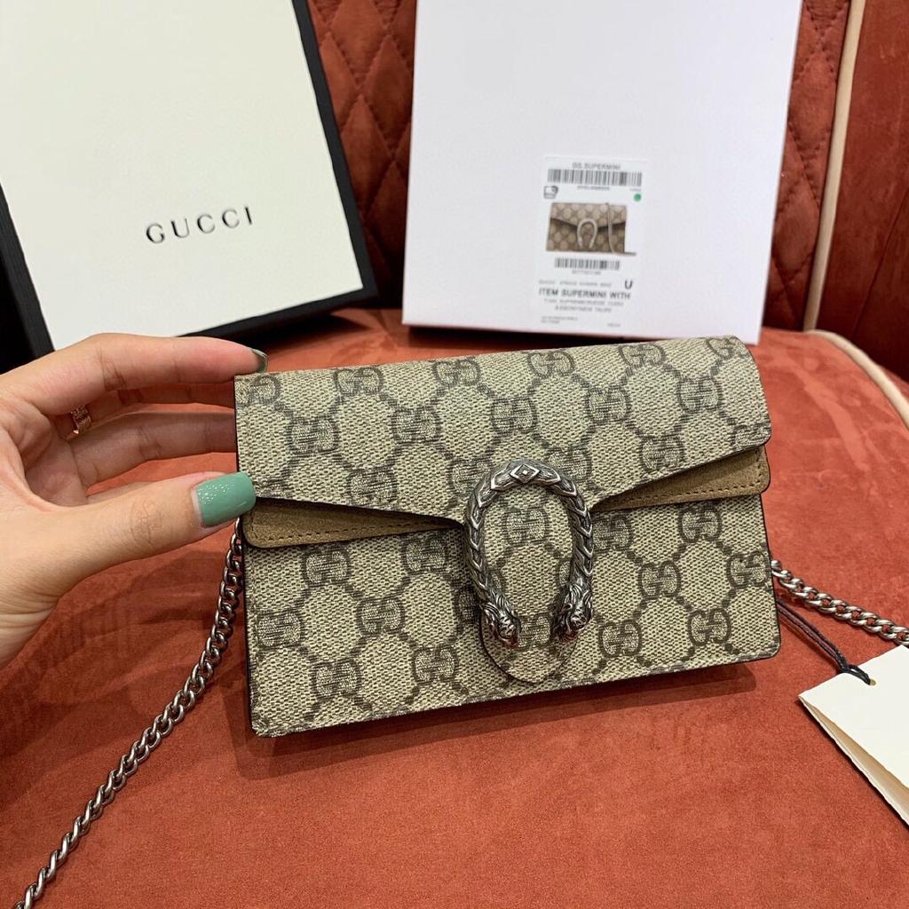 Gucci กุชชี่ supermini dionysus กระเป๋าสะพายกระเป๋าสะพายไหล่กระเป๋าสะพายข้าง หนังแท้แบรนด์เนน