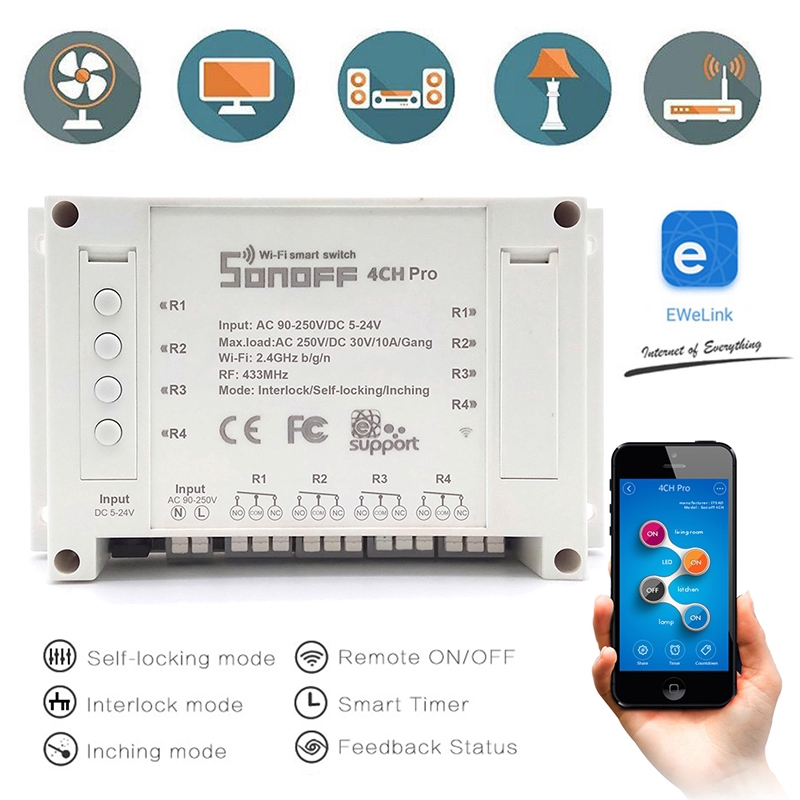 BlueG Sonoff 4 Channel WIFI Smart Timer Switch Home Light Remote Control