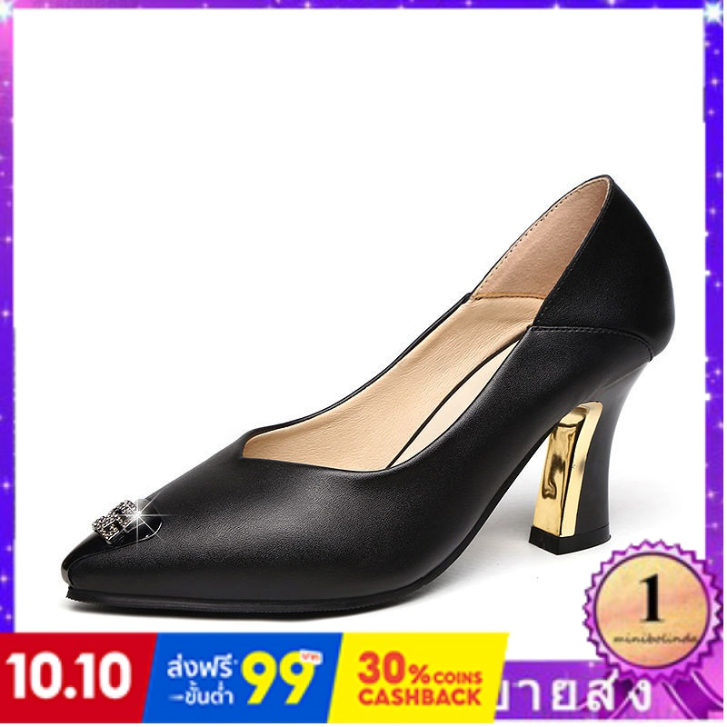 ⭐👠รองเท้าส้นสูง หัวแหลม ส้นเข็ม ใส่สบาย New Fshion รองเท้าคัชชูหัวแหลม  รองเท้าแฟชั่นรองเท้าส้นสูงหญิงใหม่สีดำรองเท้ามือ