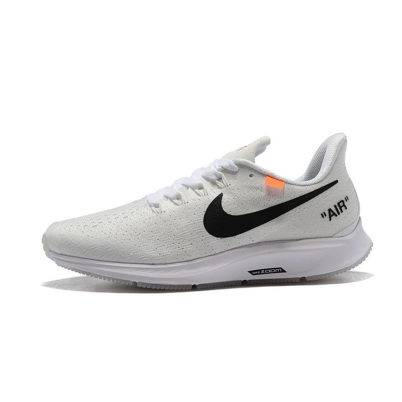 Off White X NIKE Epic React Flyknit Leather รองเท้าวิ่ง/รองเท้ากีฬา/รองเท้าลำลอง/รองเท้าระบายอากาศ/รองเท้าวิ