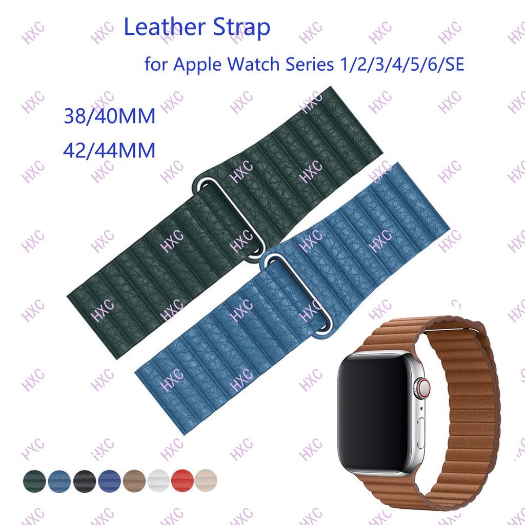 สาย applewatch 38/40 มม. 42/44 มม. สายหนังห่วงแม่เหล็กสำหรับ iWatch Series 1/2/3/4/5/6/SE