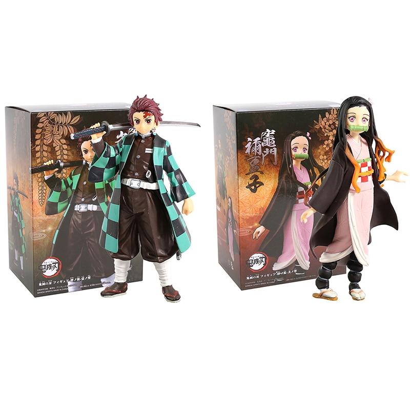 Anime Demon Slayer Figure Dolls Kamado Tanjirou Nezuko Agatsuma Zenitsu Hashibira Inosuke Tomioka Giyuu PVC Model Toys K