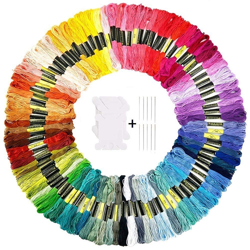50 Colors Cross Stitch Cotton Sewing Skeins Embroidery Thread Floss Kit DIY