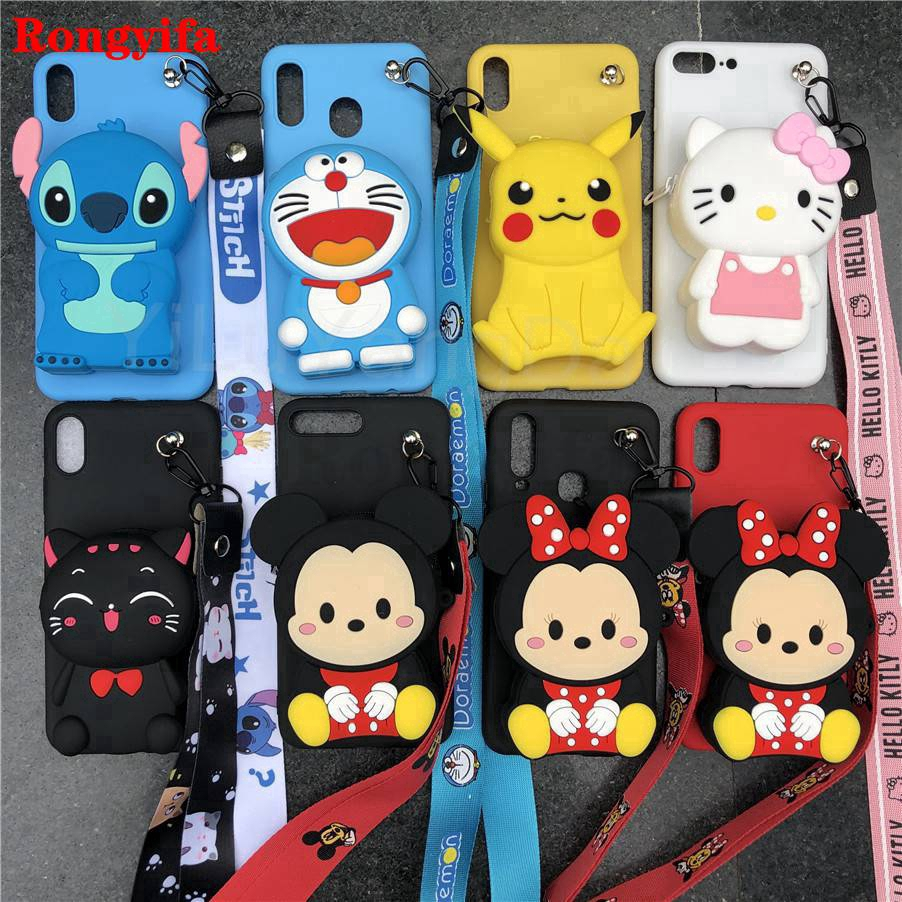 Samsung Galaxy A6 A8 2018 A9 Pro A5 2017 2016 Case 3D Doraemon Stitch Minnie Cartoon Zipper Wallet Coin Purse Cover