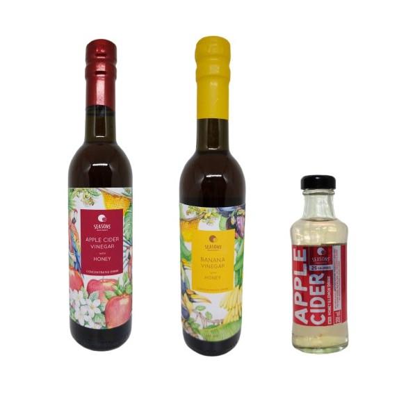 Set Banana Vinegar with Honey Blended / Apple Cider Vinegar with Honey Blended / Apple Cider Vinegar RTD