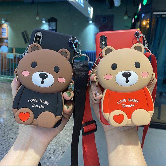 SAMSUNG phone case เคสโทรศัพท์พร้อมกระเป๋าใส่การ์ดแบบคล้องเชือก SAMSUNG A52016 A510 A52017 A520 A9 A9pro A52018 A82018 A62018 A6plus2018 J82018 A92018 A920 A9S A21S M31 Cartoon bear coin purse mobile phone case soft shell